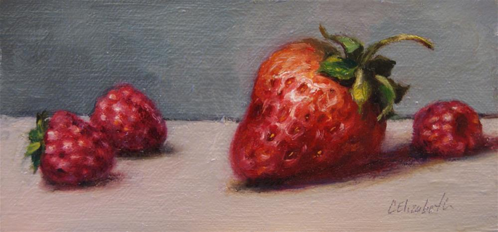 """Still Life with Strawberry and Raspberries,  Oil on 3x6 Linen Panel"" original fine art by Carolina Elizabeth"
