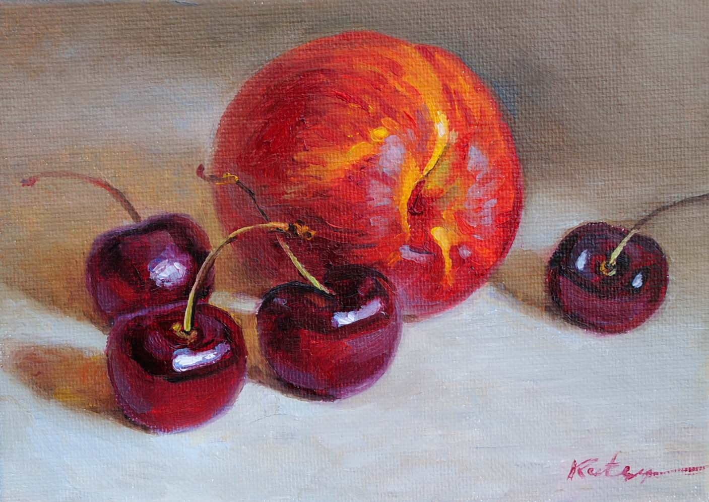 """""""Cherries & Nectarine"""" original fine art by Elena Katsyura"""