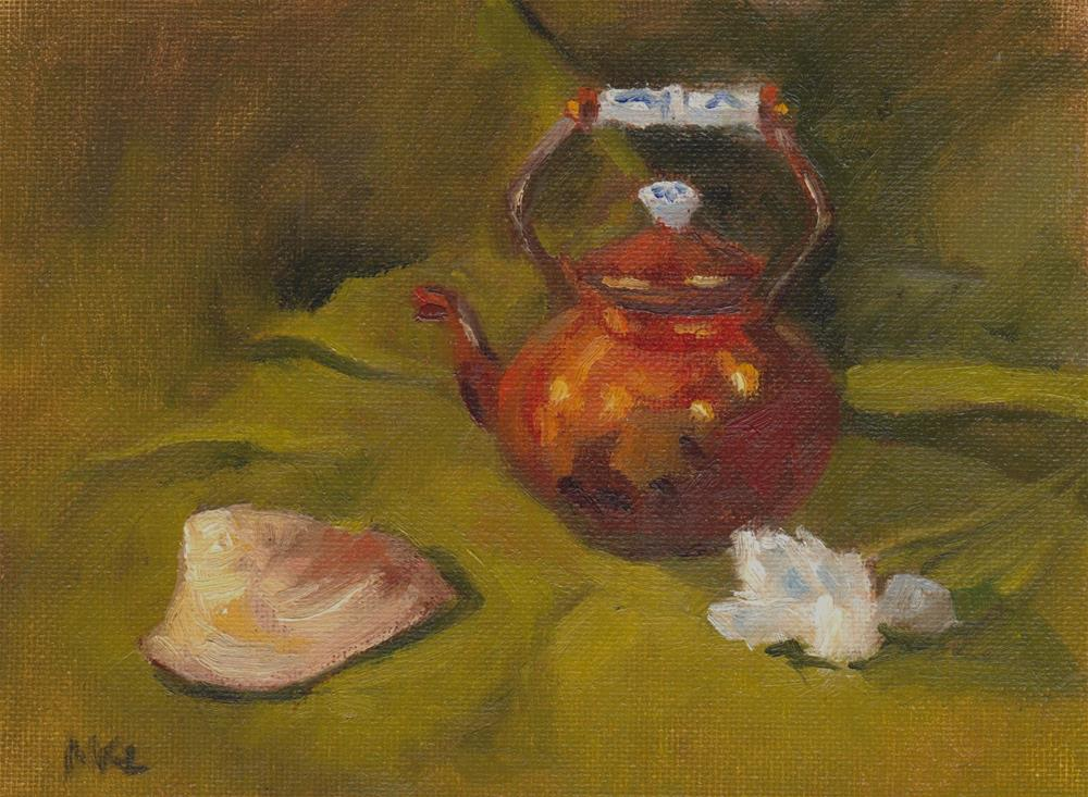 """""""Copper Kettle and Seashell with White Flower"""" original fine art by Marlene Lee"""
