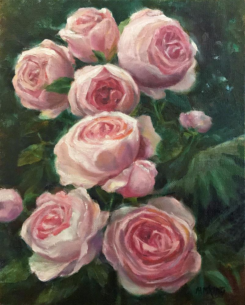 """Pink Garden Roses"" original fine art by Marilyn M King"