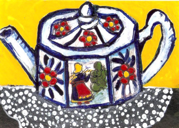 """""""ACEO Folk Art Teapot Blue and White with Red Flowers Painting Penny StewArt"""" original fine art by Penny Lee StewArt"""