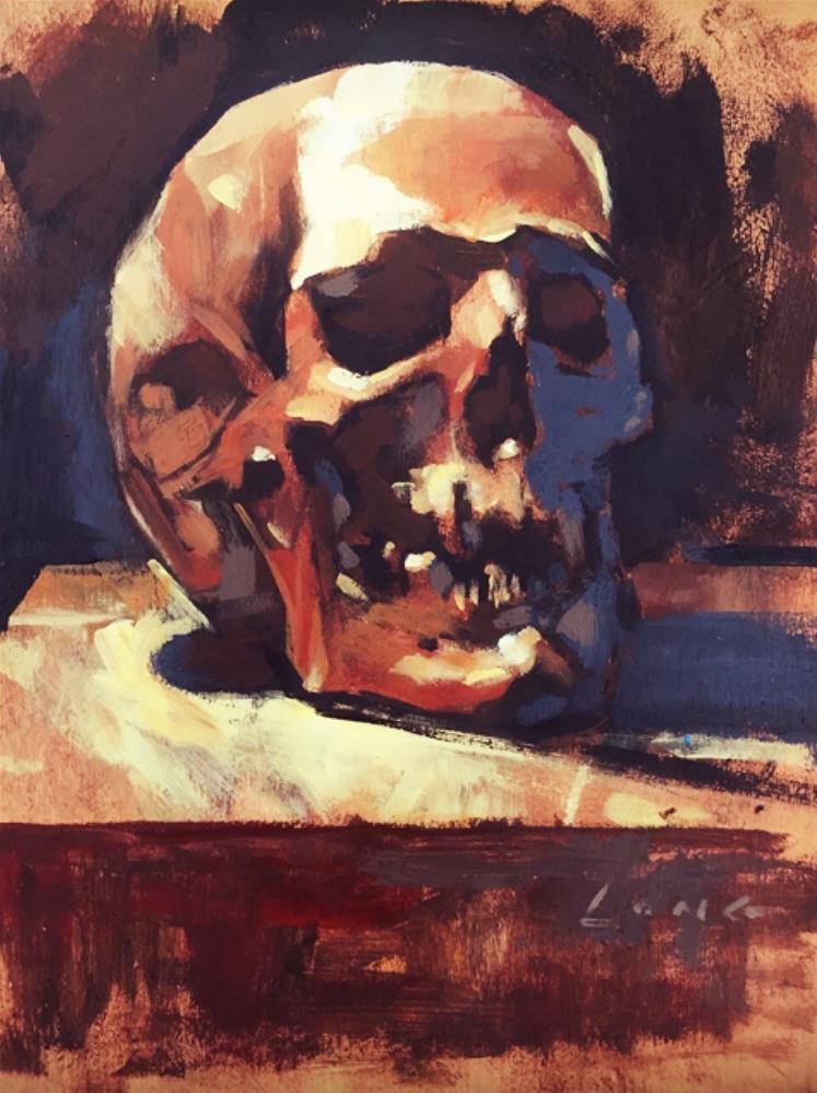 """""""Skull on Box"""" original fine art by Chris Long"""