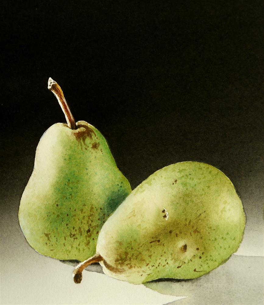 """""""Two Pears"""" original fine art by Jacqueline Gnott, TWSA, WHS"""