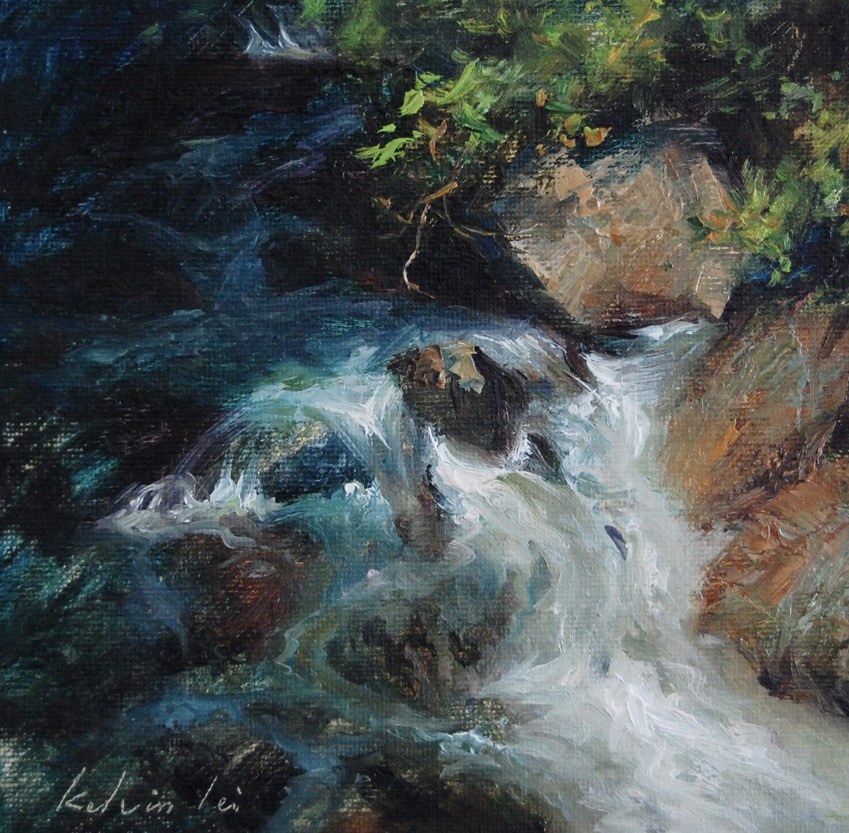 """Creek Fall"" original fine art by Kelvin Lei"