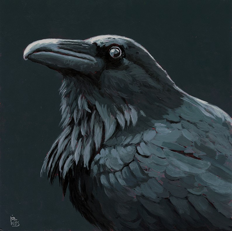 """Black Raven acrylic"" original fine art by Ria Hills"