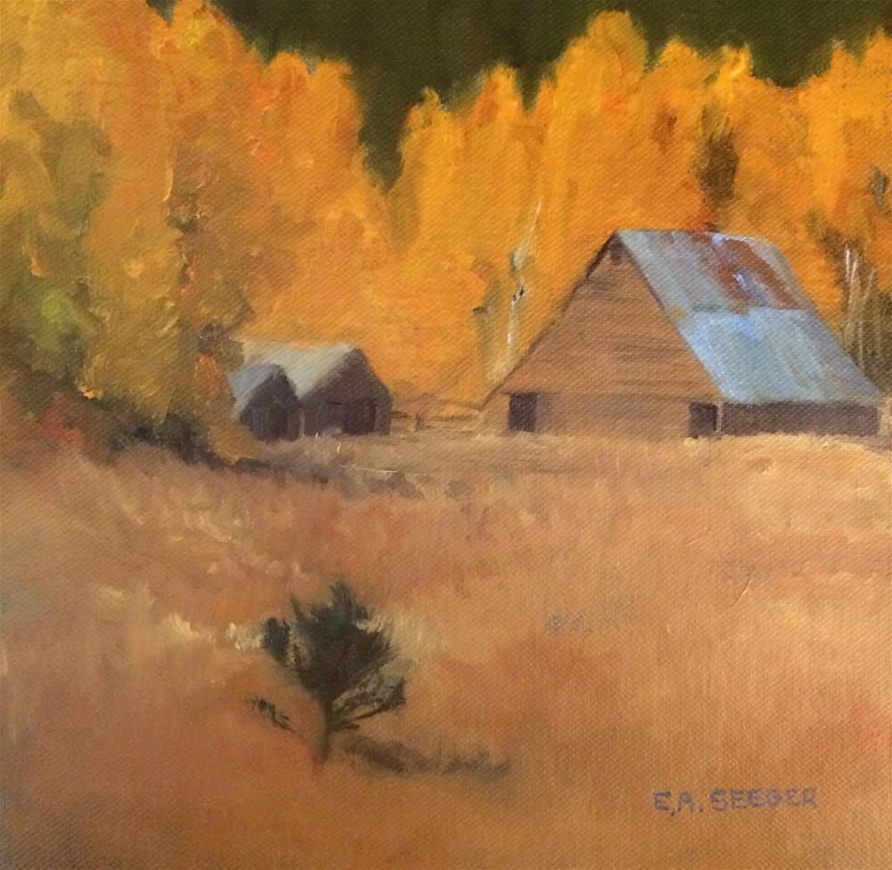 """""""Fall Barn"""" original fine art by Elisabeth Seeger"""