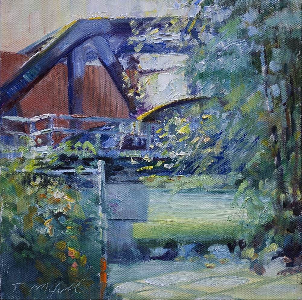 """Freight Car on the Bridge"" original fine art by Denise Maxwell"