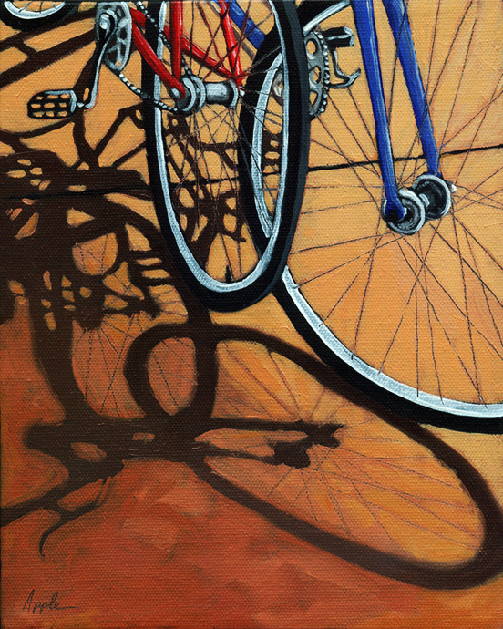 """Waiting - Bicycle art"" original fine art by Linda Apple"