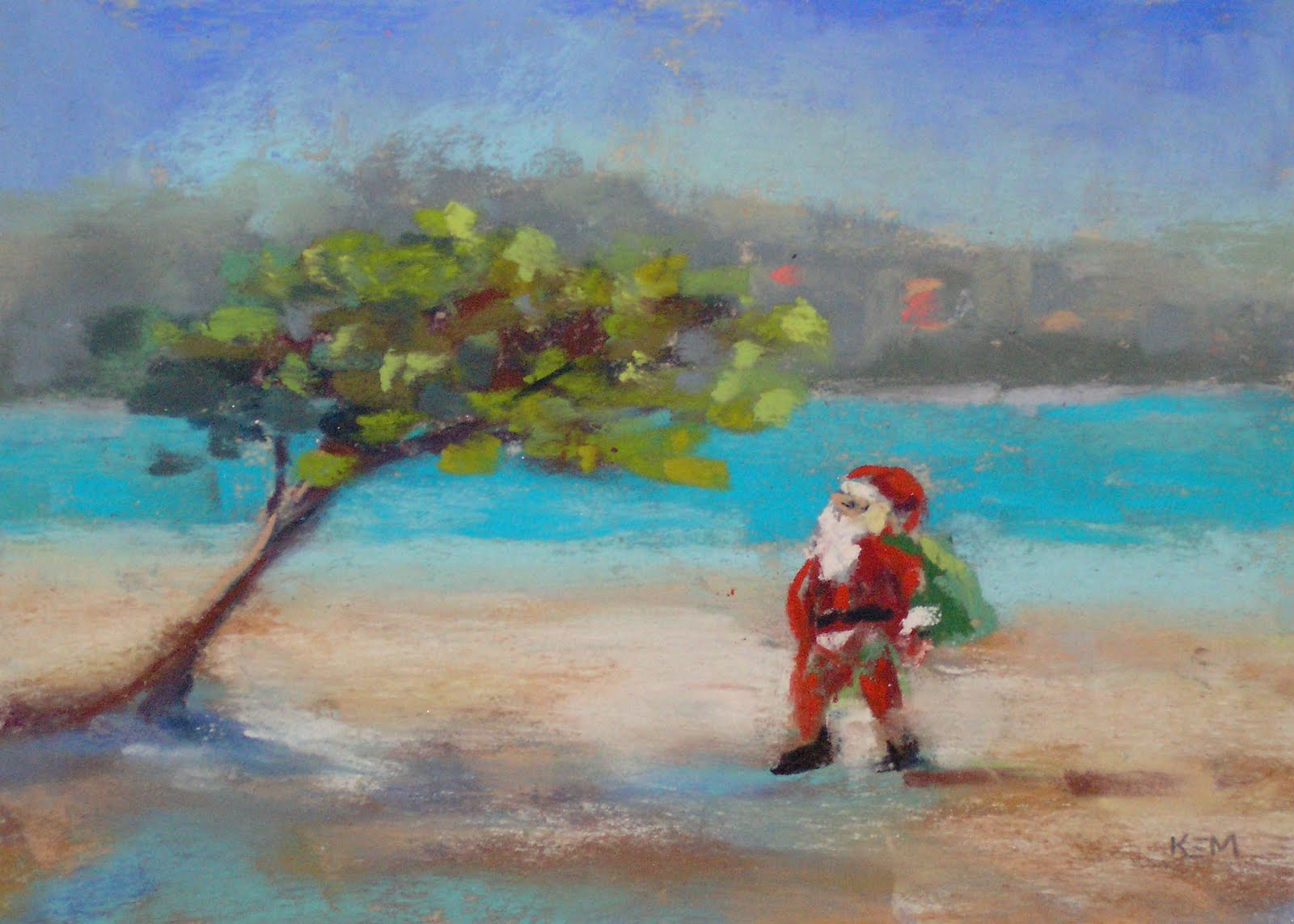"""Santa in the Caribbean 5x7 pastel"" original fine art by Karen Margulis"