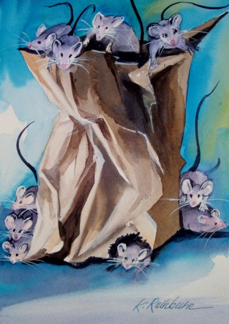 """Filled With Everything Mice"" original fine art by Kathy Los-Rathburn"