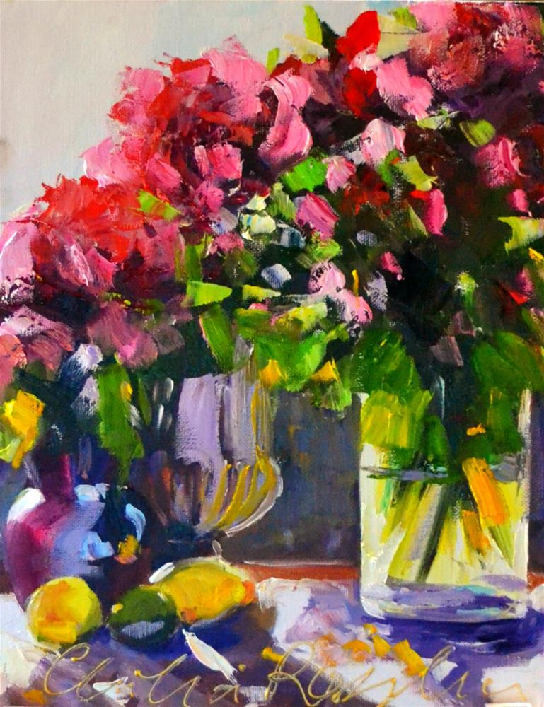 """LATE AFTERNOON ROSES"" original fine art by Cecilia Rosslee"