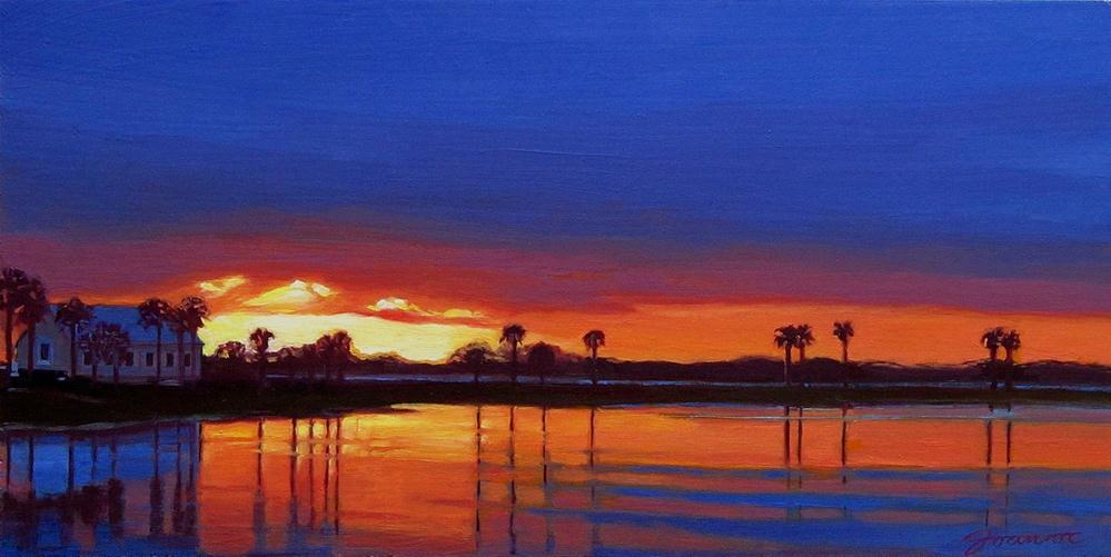 """Storm Passing The Pond--Tropical Sunset Landscape"" original fine art by Joanna Bingham"