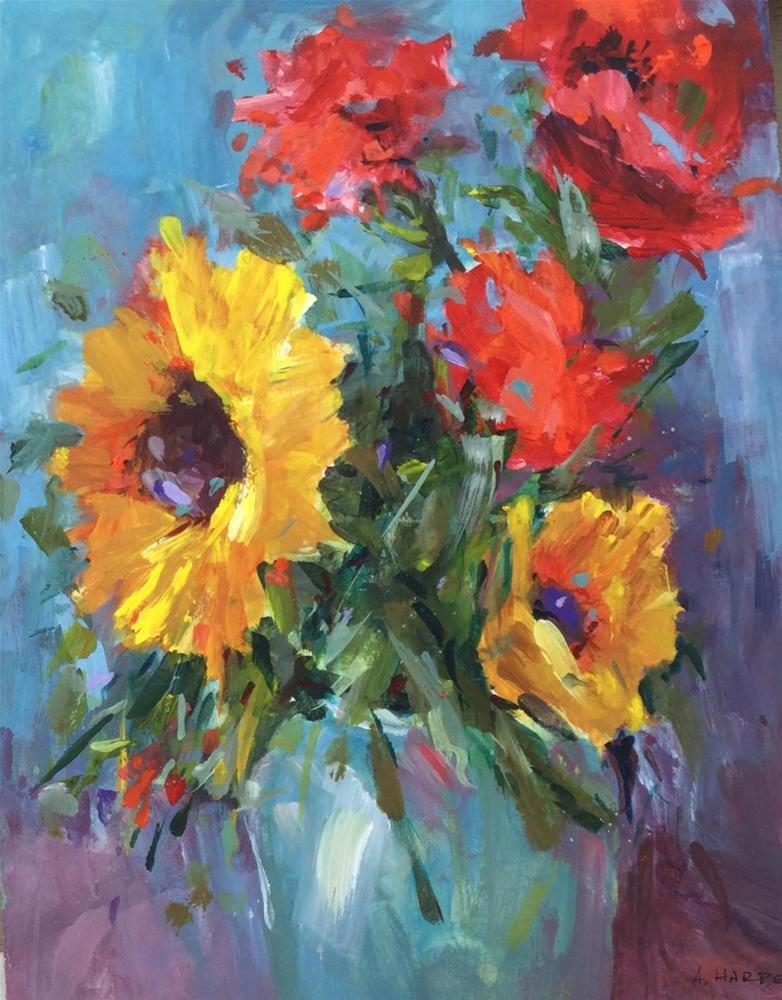 """Sunflower still life acrylic bouquet floral art"" original fine art by Alice Harpel"
