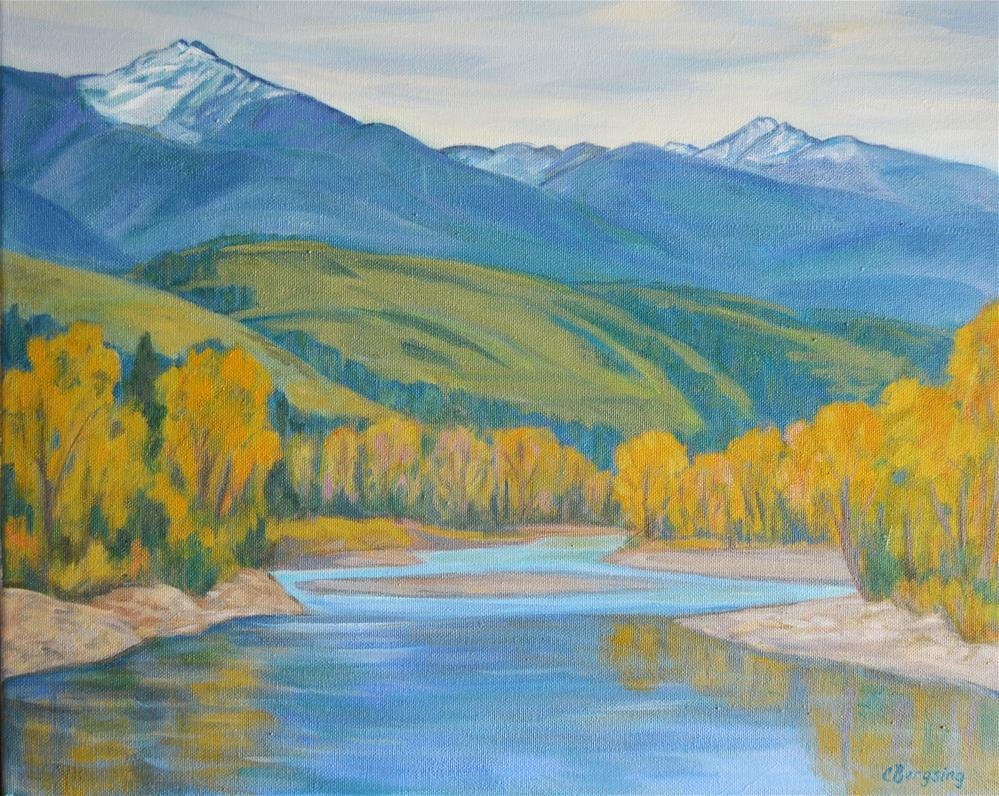 """Autumn on the Yellowstone"" original fine art by Cathy Bergsing"