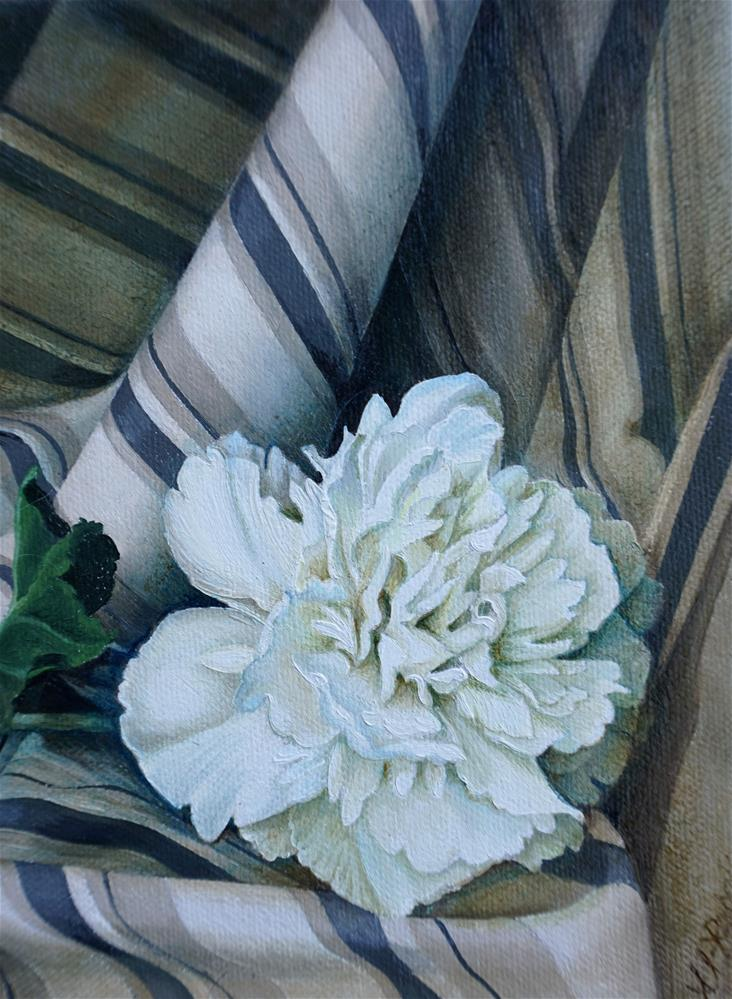 """Peony on Striped Linen"" original fine art by Catherine Al-Rubaie"