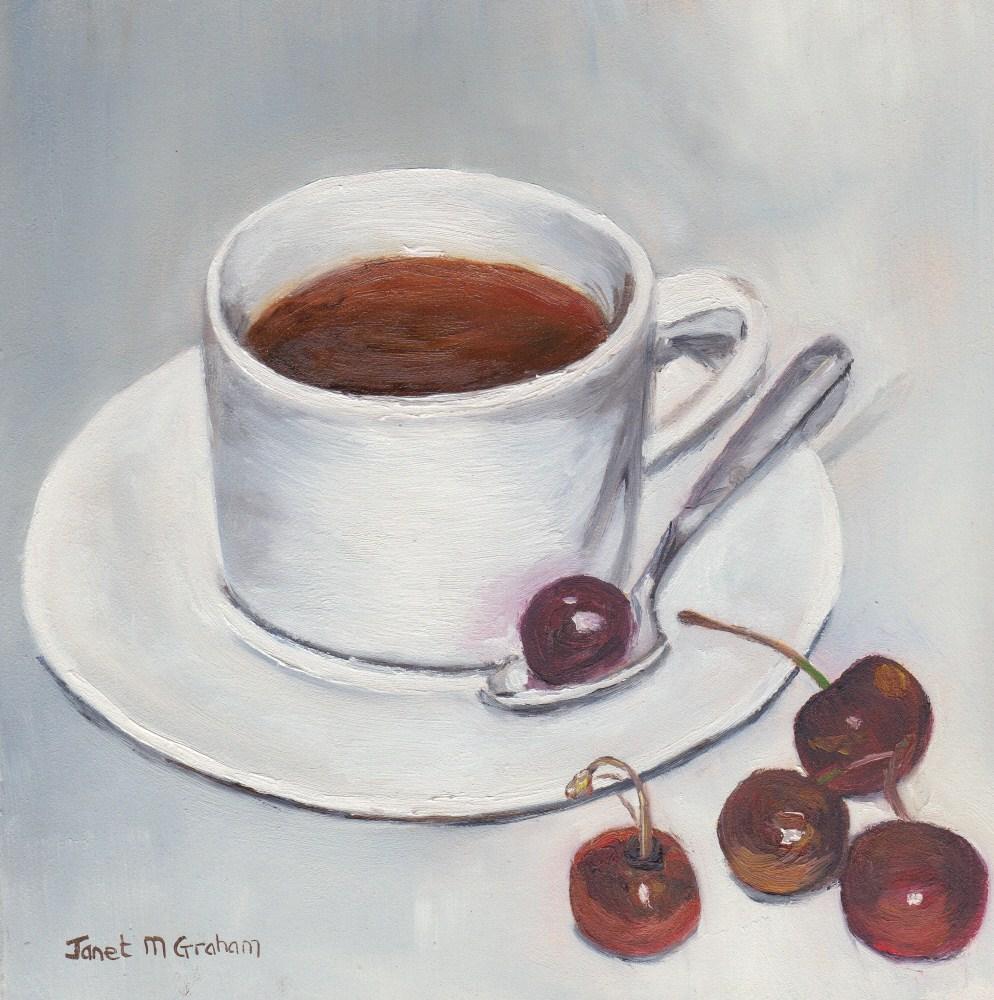 """Tea and Cherries"" original fine art by Janet Graham"