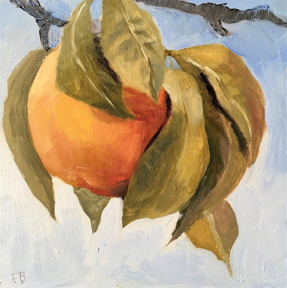 """071 Peach On A Limb Painting"" original fine art by Fred Bell"