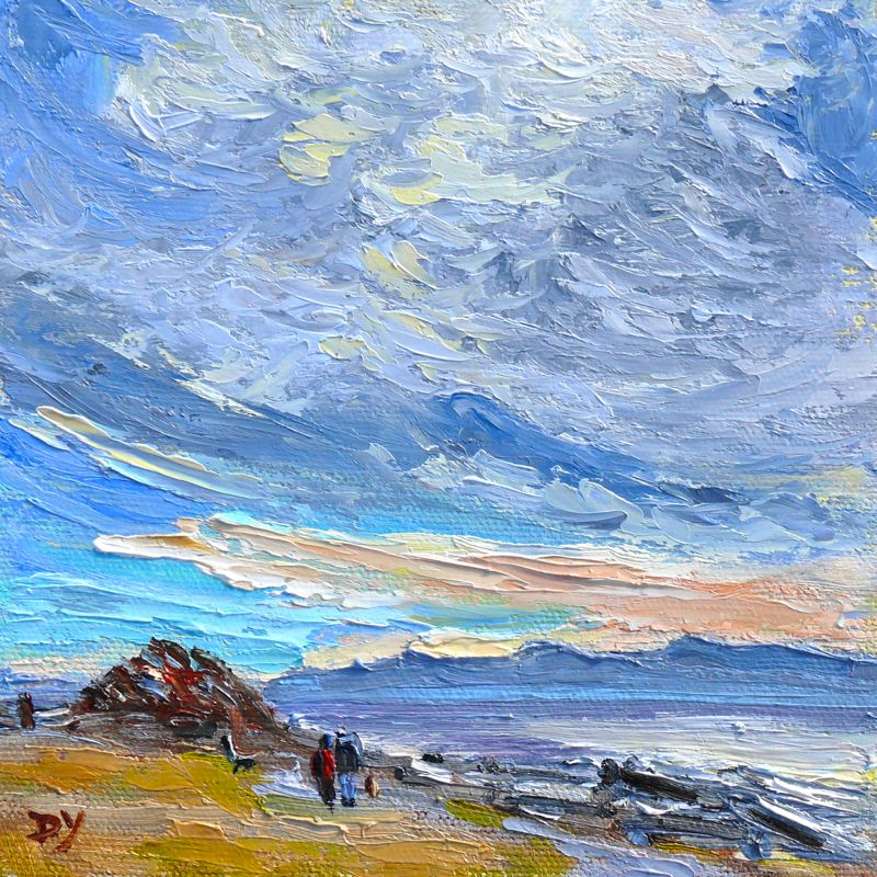 """Holland Point Sky, oil on panel, 6x6"" original fine art by Darlene Young"