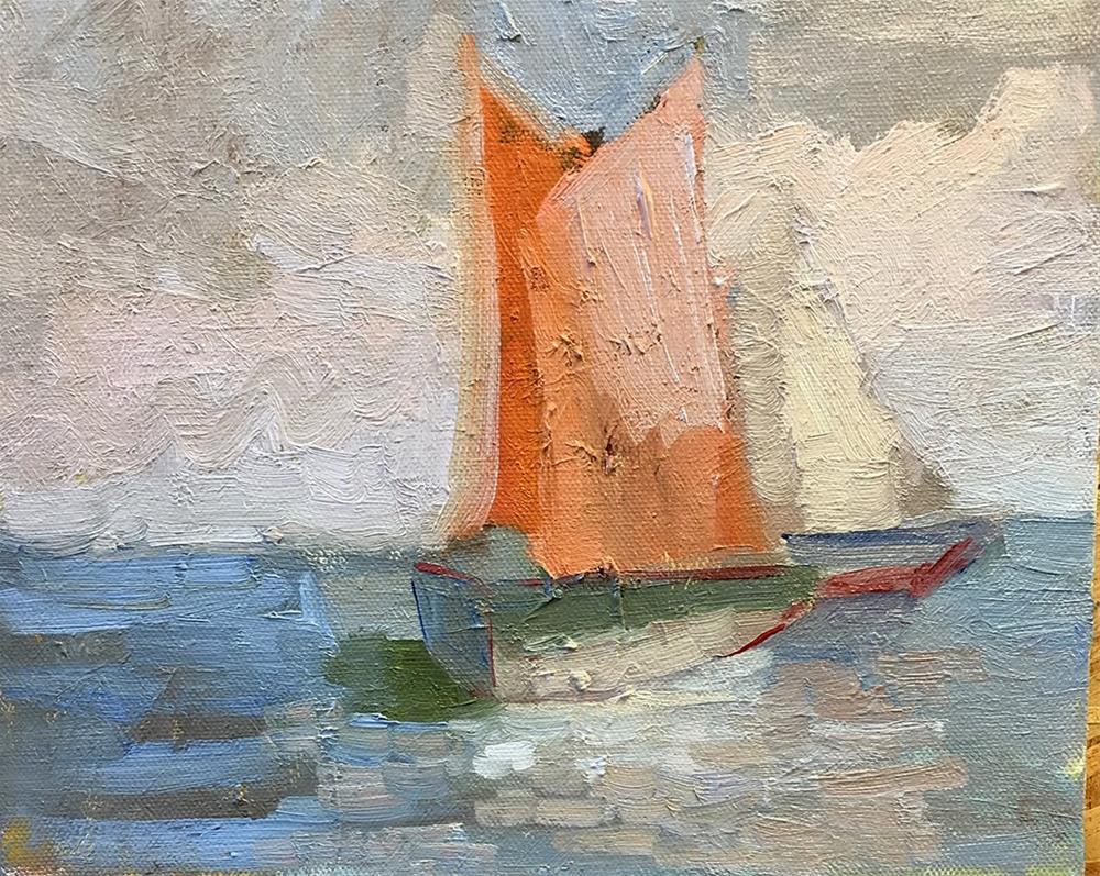 """amber sails 8 x 10"" original fine art by Sally Rosenbaum"