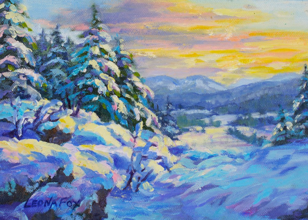 """Winter Valley Sunset"" original fine art by Leona Fox"