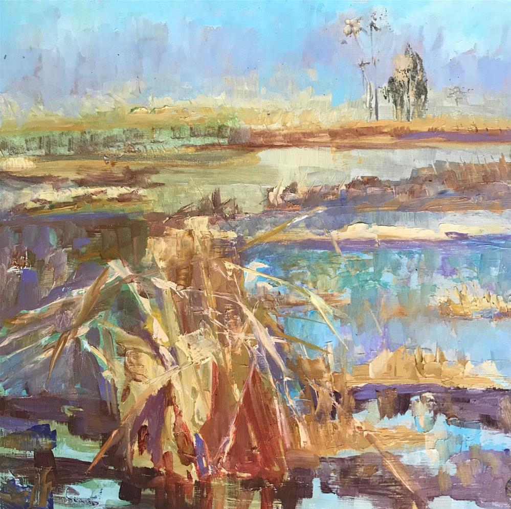"""Reeds in the marsh AGAIN"" original fine art by Angela Hansen"