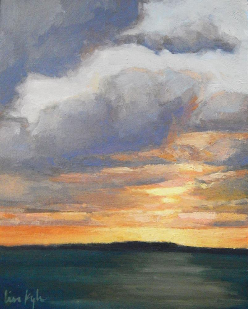 """""""Clouds at Sunset, Maine"""" original fine art by Lisa Kyle"""