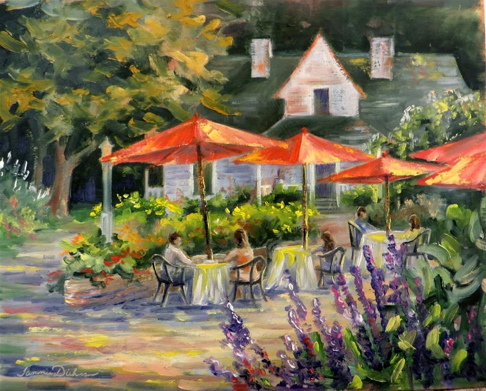 """Red Umbrellas in Fish Creek"" original fine art by Tammie Dickerson"