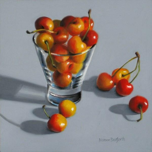 """Rainier Cherries in Glass II"" original fine art by Nance Danforth"