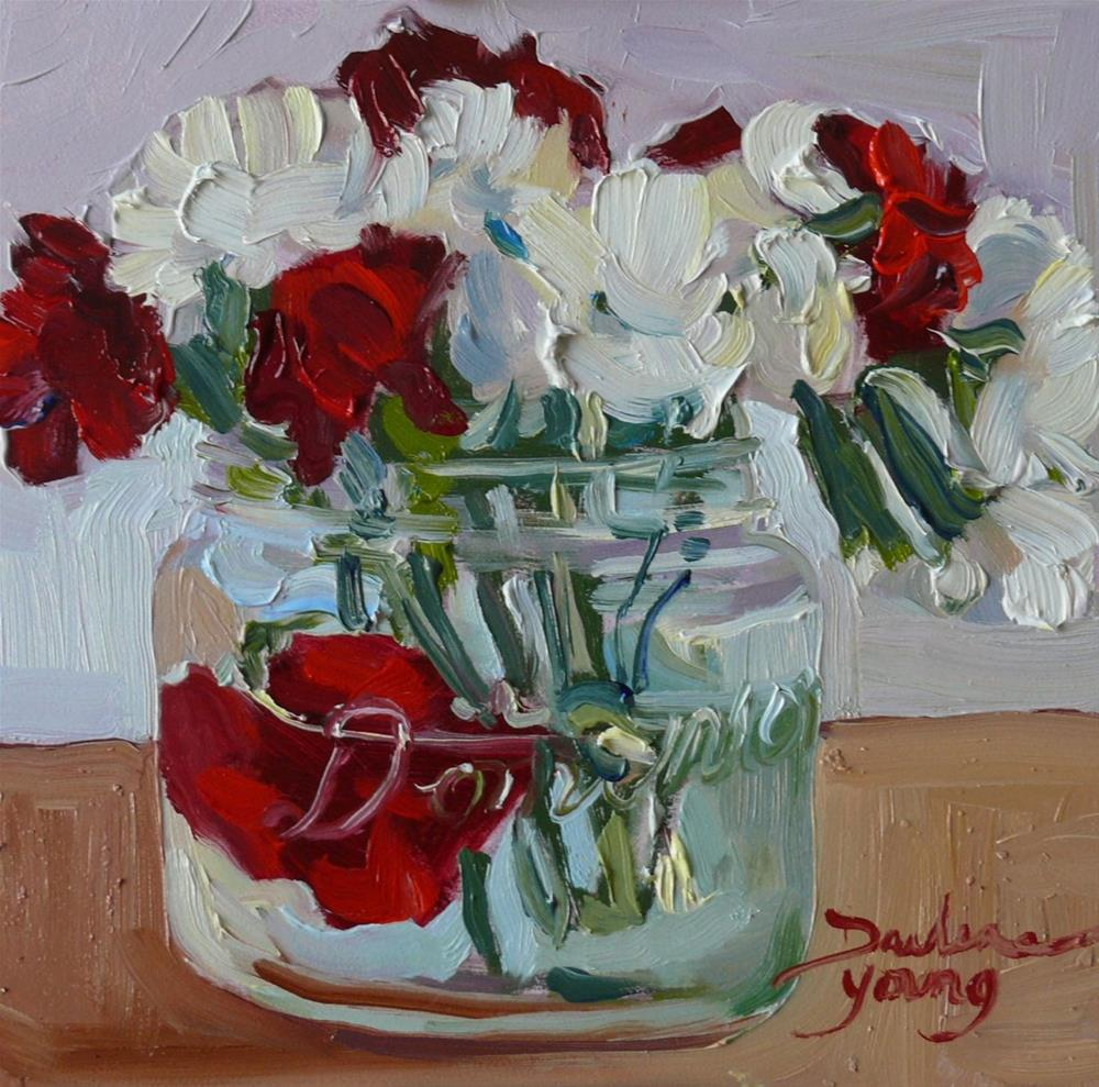 """""""876 Pure and Deep Love, oil on board, 6x6"""" original fine art by Darlene Young"""