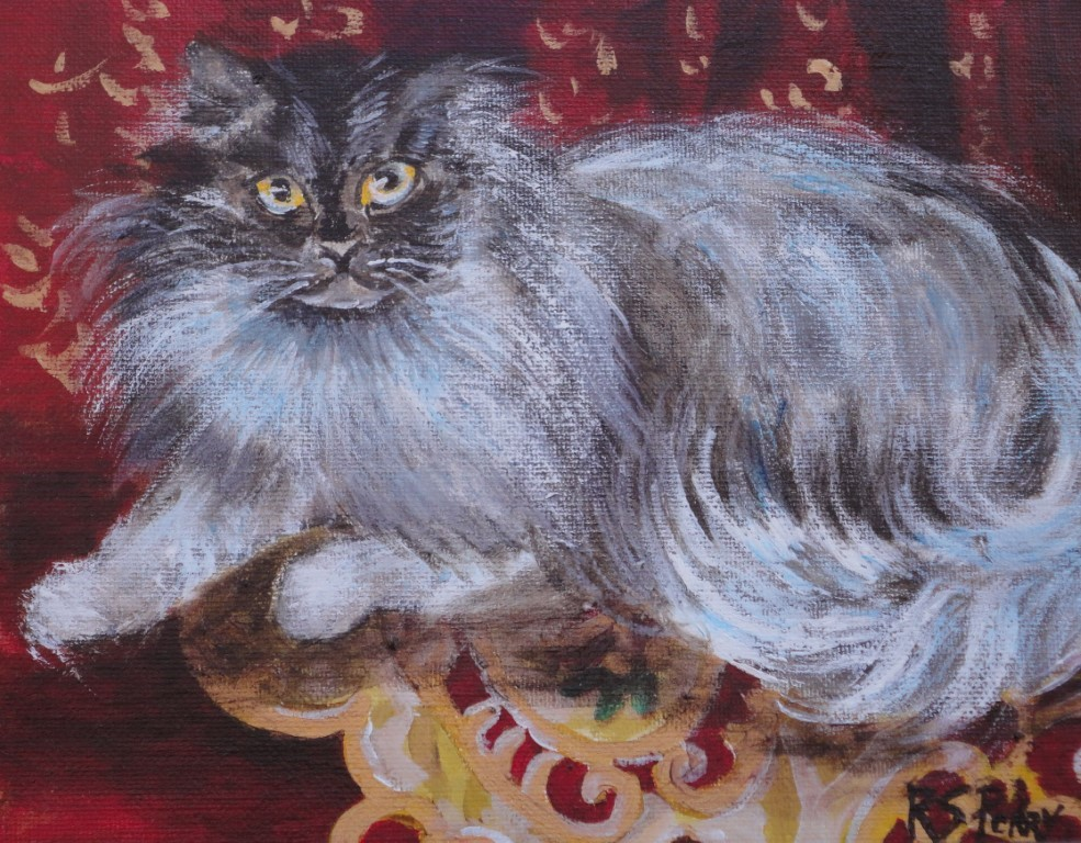 """Persian Cat"" original fine art by R. S. Perry"