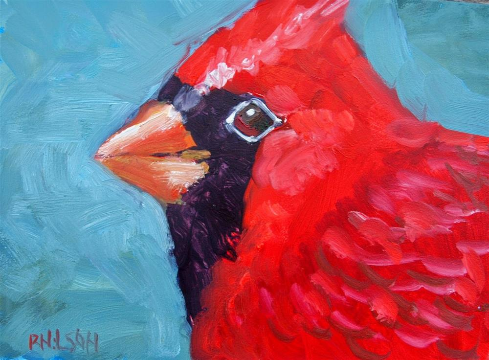 """Big Red Cardinal"" original fine art by Rick Nilson"