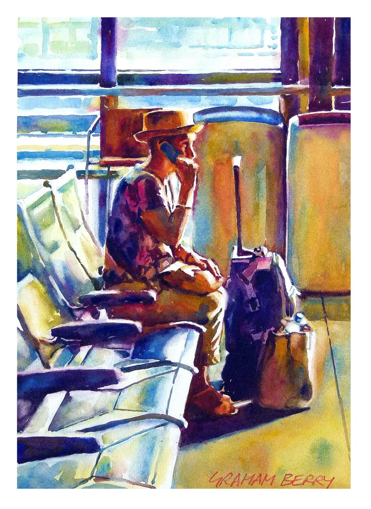 """""""I'm just waiting for the train"""" original fine art by Graham Berry"""