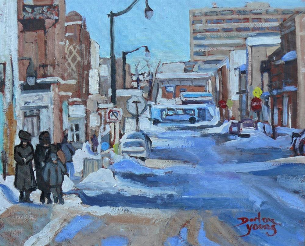"""1019 Montreal Winter Scene, Mile End, 8x10, oil on board"" original fine art by Darlene Young"