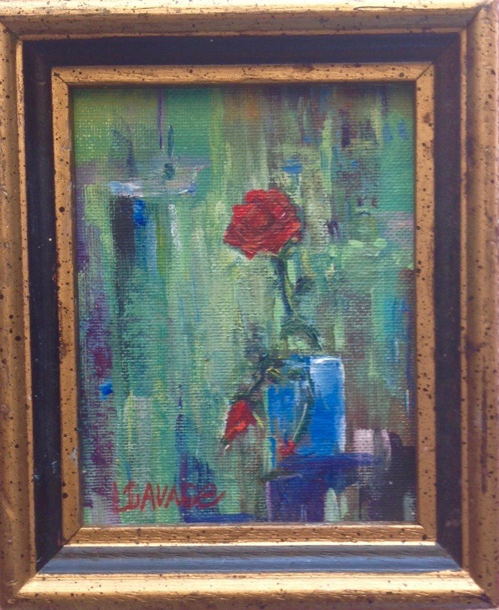 """Red Roses For a Blue Vase"" original fine art by Judy Usavage"