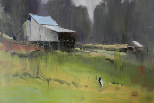 """Sawdust Hill Road Barn plein air, oil landscape painting by Robin Weiss"" original fine art by Robin Weiss"