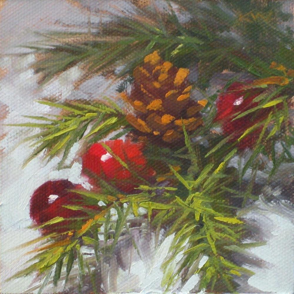 """""""Tiny Pinecone"""" original fine art by Karen Werner"""