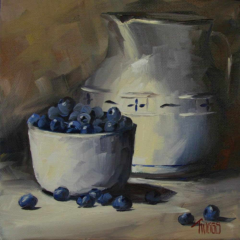 """Pitcher & Blueberries"" original fine art by Lori Twiggs"