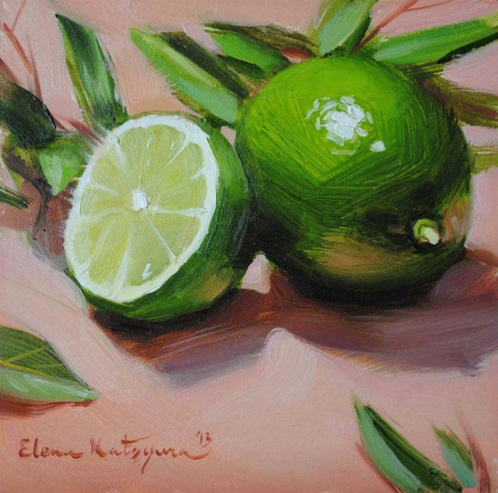 """Limes and Leaves"" original fine art by Elena Katsyura"