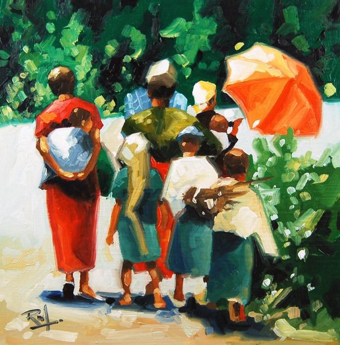 """No 414 Walking Home"" original fine art by Robin J Mitchell"
