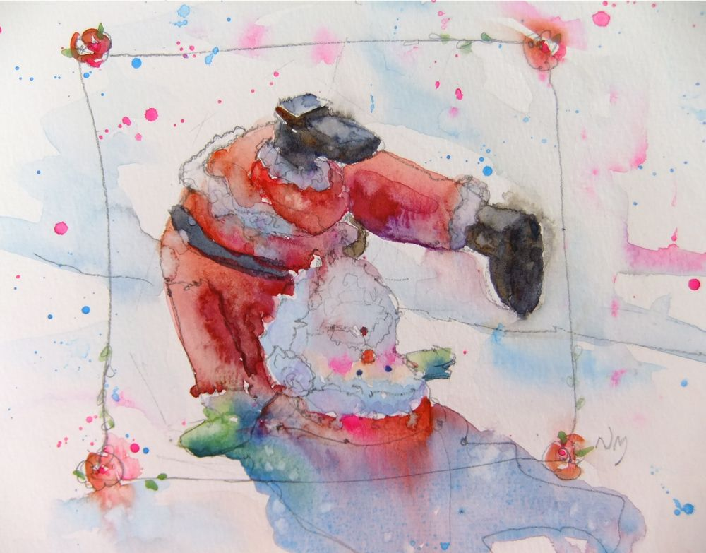 """Somersaulting Santa"" original fine art by Nora MacPhail"