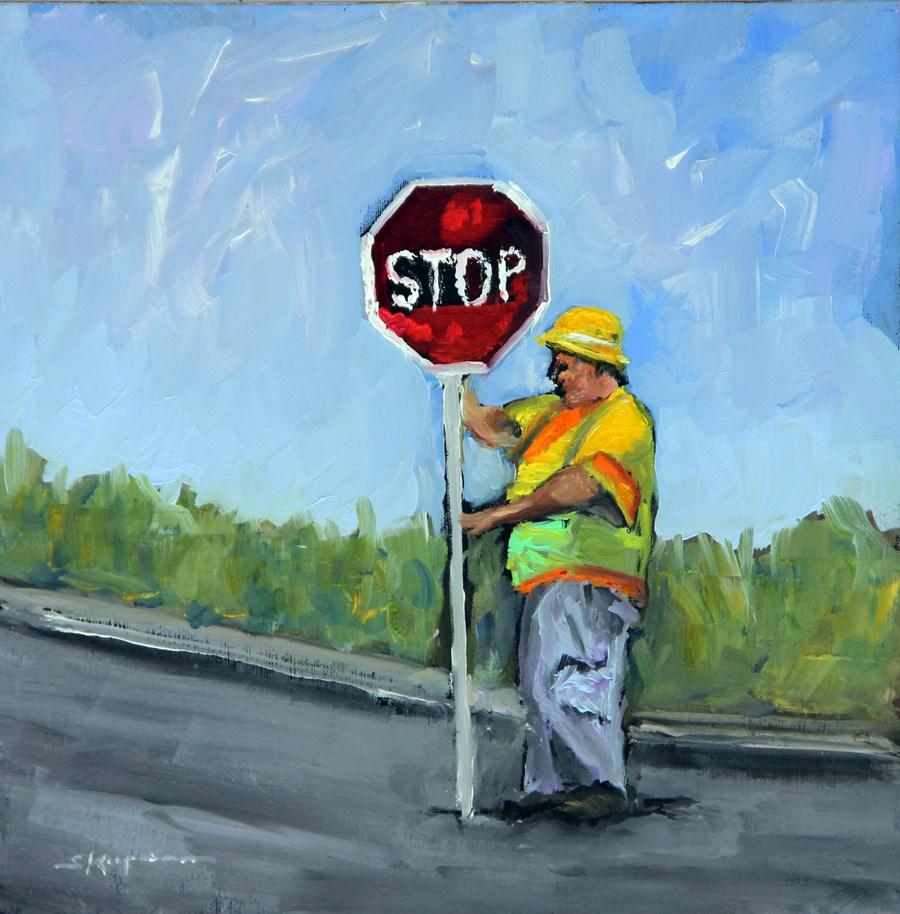 """""""Sign, Sign, Everywhere a Sign"""" original fine art by Shelley Koopmann"""