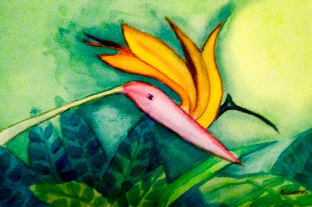 """Bird of paradise on drinking water position"" original fine art by Giovanni Antunez"