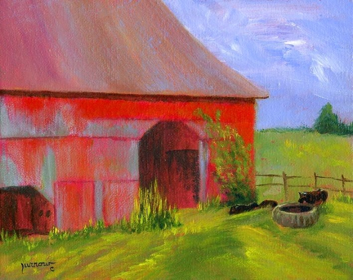 """""""Tire Trough - From the Barns of Bedford Project"""" original fine art by Sue Furrow"""