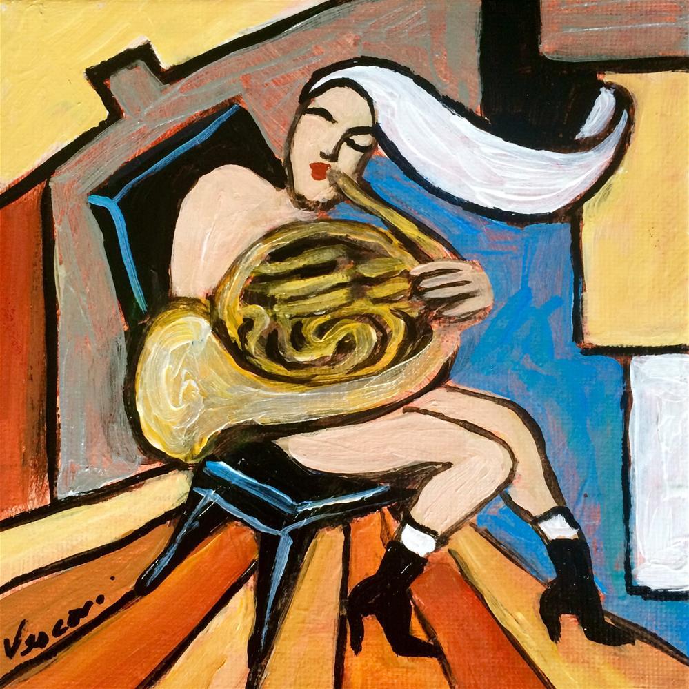 """The French Horn"" original fine art by Valerie Vescovi"