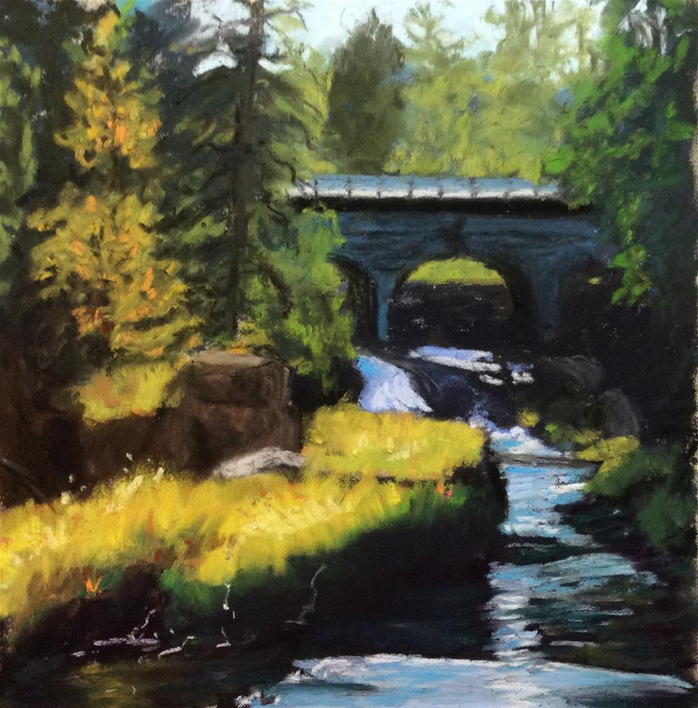 """BRIDGE OVER FALLING WATERS"" original fine art by Marti Walker"