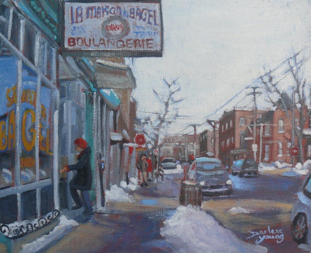 """""""1067 St Viateur Bagel, 8x10, oil on board"""" original fine art by Darlene Young"""
