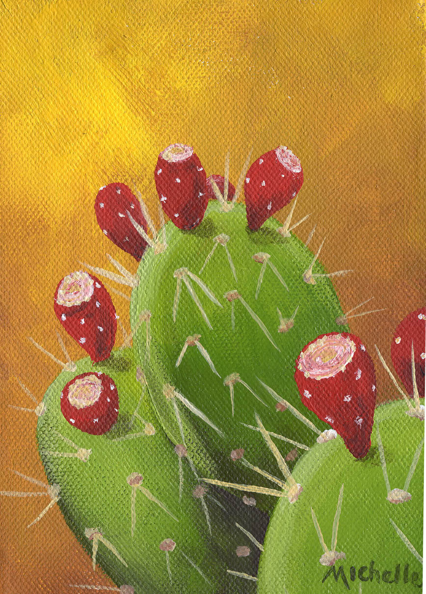 """""""Prickly Pear Cactus with Fruit 2"""" original fine art by Michelle Wolfe"""