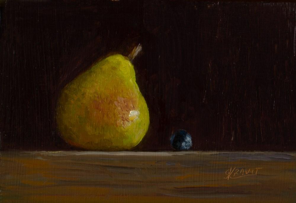 """Pear and Blueberry"" original fine art by Garry Kravit"