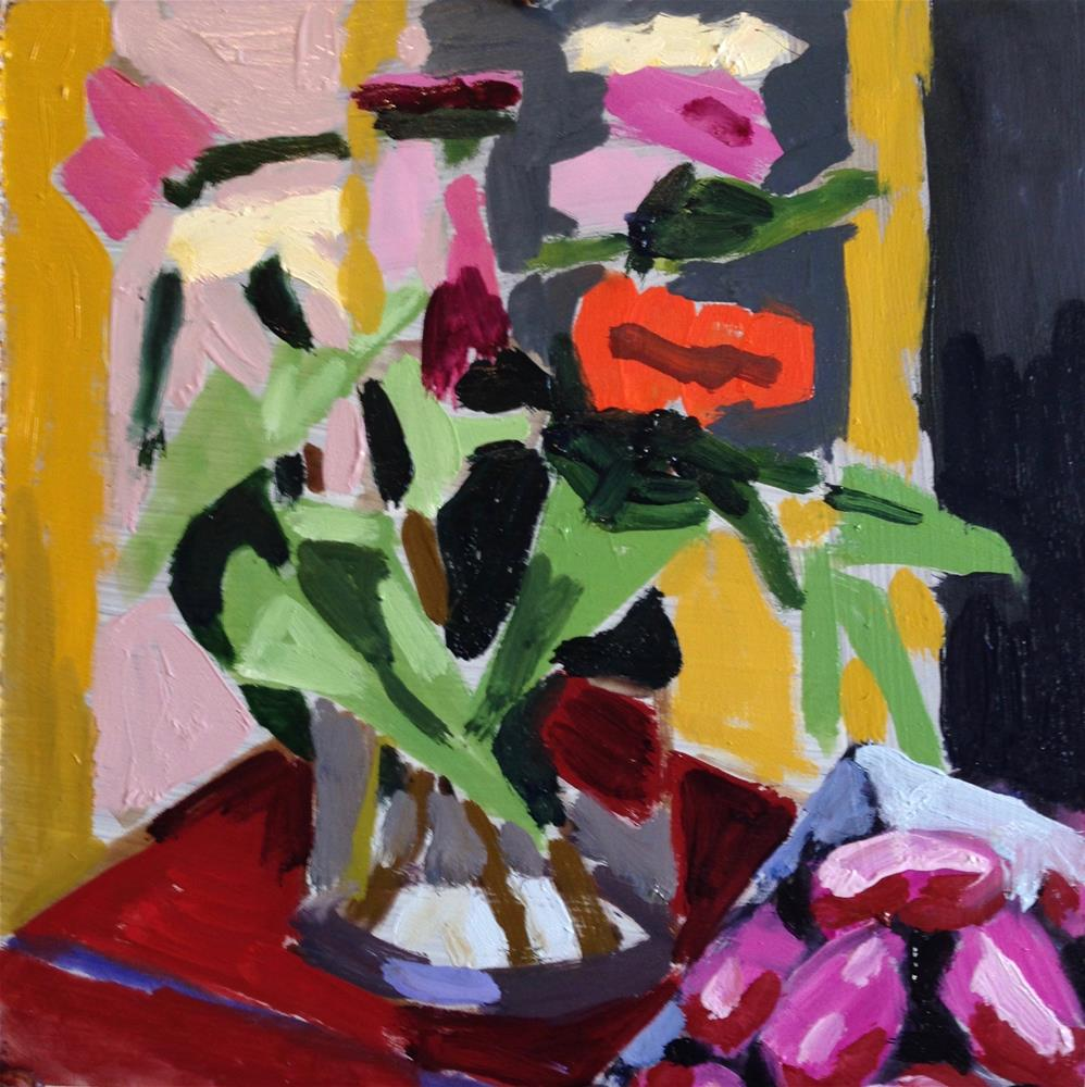 """Zinnias Encounter Red Potatoes"" original fine art by Pamela Hoffmeister"