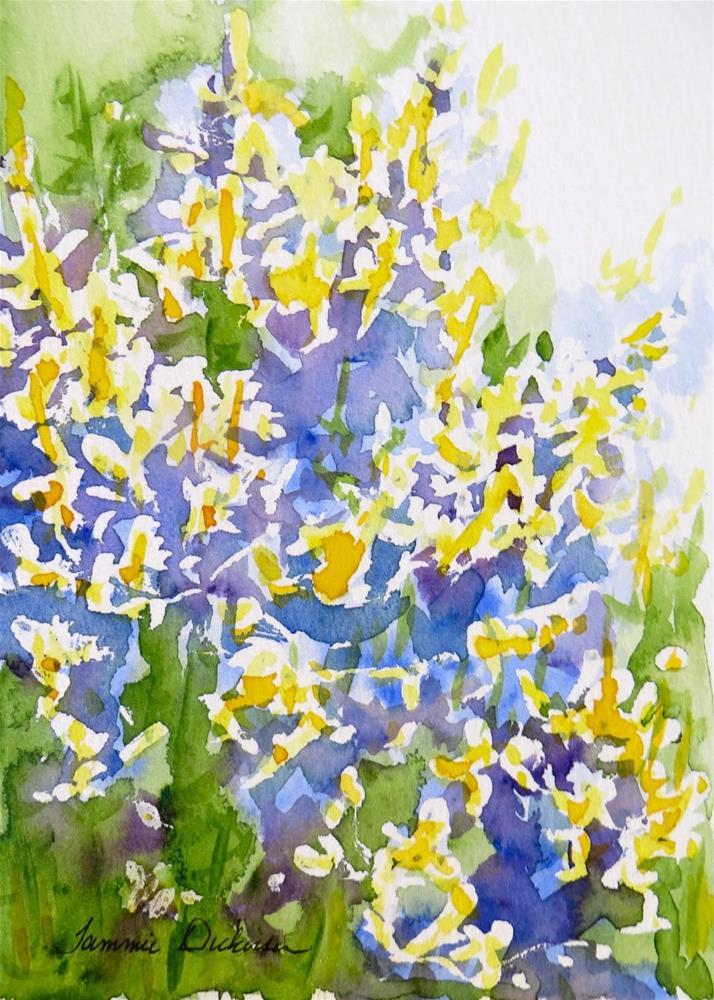 """Watercolor Forsythia"" original fine art by Tammie Dickerson"
